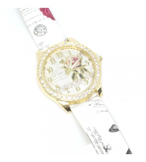 Reloj Dama Rosa Brillantes